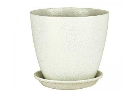 Горшок для цветов керамический с поддоном Бутон Глянец мет.бел/зол 12см ГЛ 07/1