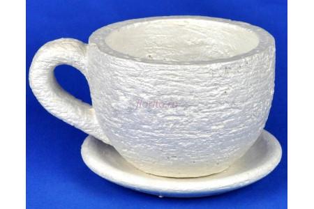 Горшок для цветов керамический с поддоном Кружка перламутр