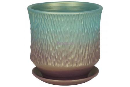Горшок для цветов керамический с поддоном Павлин цилиндр темн.22см 4-34  39-234