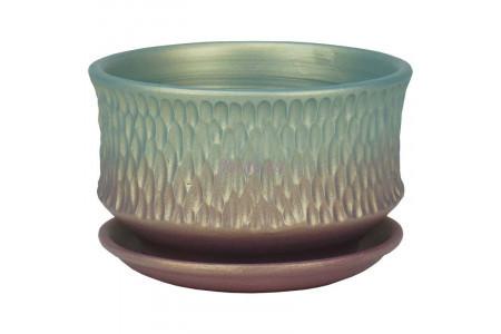 Горшок для цветов керамический с поддоном Павлин плошка темн.16см 2-34  38-134