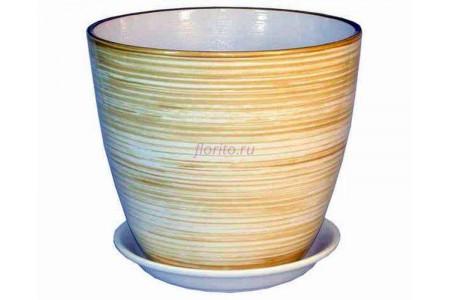 Горшок для цветов керамический с поддоном Роспись бутон бел/золото 12см (РС 03/1)