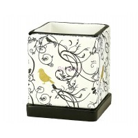 Горшок для цветов керамический с поддоном Кубик Птица Золотая d12см (NK40/1)