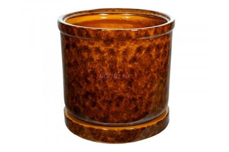 Горшок для цветов керамический с поддоном «Цилиндр №9» коричневый 78л