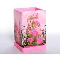 Горшок для цветов керамический с поддоном Кубик выс.d12/h17см (NK0104)