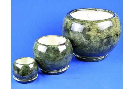 Горшки для цветов керамические с поддоном кмпт Шар из 3-х (зеленый)