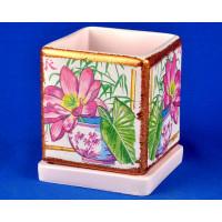 Горшок для цветов керамический с поддоном Кубик d12см (NK29/1)