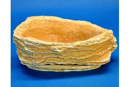 Горшок для цветов керамический с поддоном Камень Везувий светлый песчаник 0,5л (км-02-1)