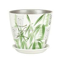 Горшок для цветов керамический с поддоном Роспись бутон бамбук 15см (РС 01/2)