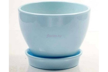 Горшок для цветов керамический с поддоном Ксения КП 1 (0,5л) голубой