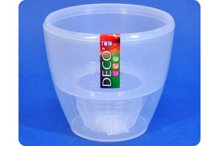 Кашпо пластиковое двойное DECO TWIN 1,5л (прозр) э 596