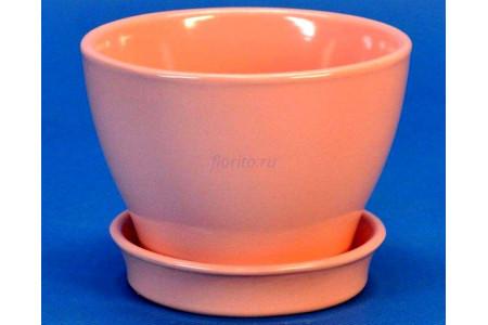 Горшок для цветов керамический с поддоном Ксения КП 1 (0,5л) коралловый