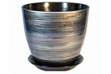Горшок для цветов керамический с поддоном Роспись бутон черн/серебро 12см (РС 28/1)