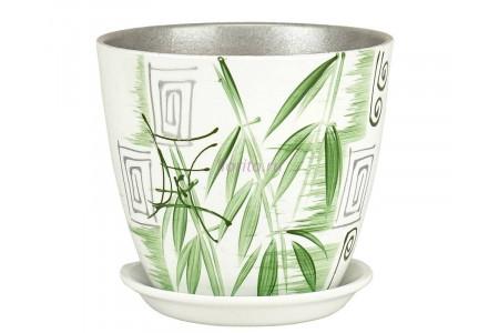 Горшок для цветов керамический с поддоном Роспись бутон бамбук 12см (РС 01/1)