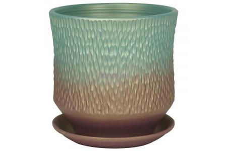 Горшок для цветов керамический с поддоном Павлин цилиндр темн.19см 3-34  39-134