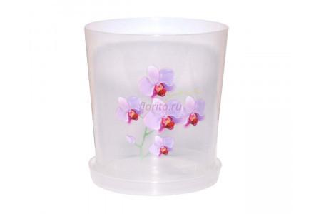 Горшок для цветов пластиковый с поддоном Для Орхидей 1,8л (прозр)-1 с под м1604Ж
