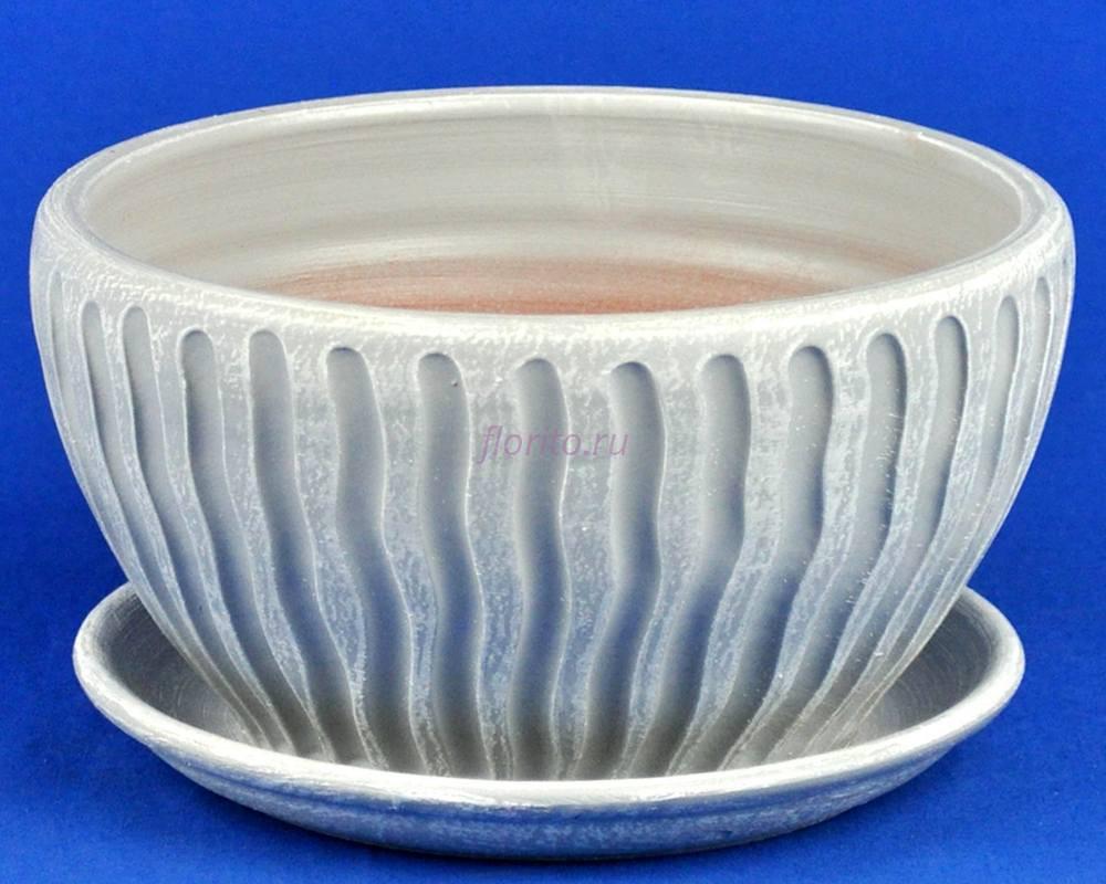 Горшок для цветов керамический с поддоном МАНЕ плошка 1 бел/сер М5-118  3-18