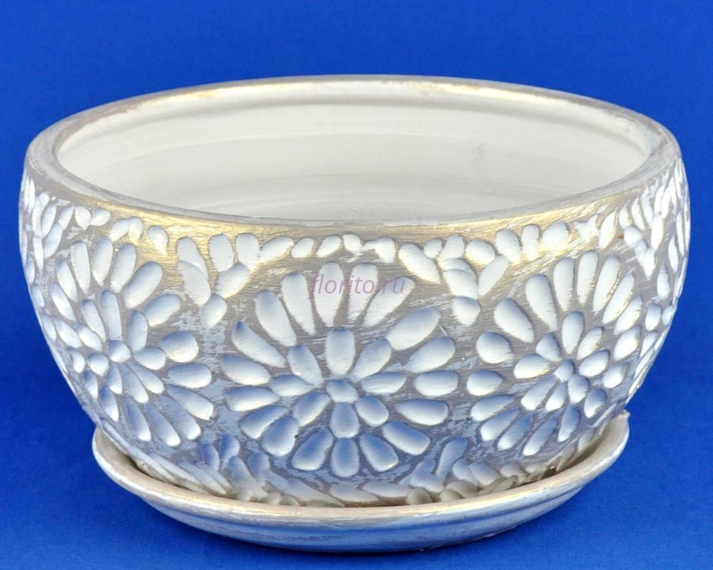 Горшок для цветов керамический с поддоном Астра плошка 1 бел/жемч. А5-123   3-23