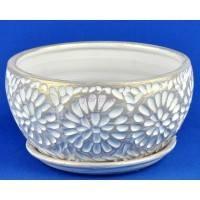 Горшок для цветов керамический с поддоном Астра плошка бел/жемч.18см 3-23 (27-123)
