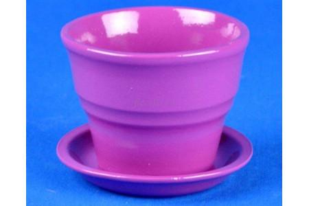 Горшок для цветов керамический с поддоном Колибри Глянец лилов.10,5см ГЛ812/1