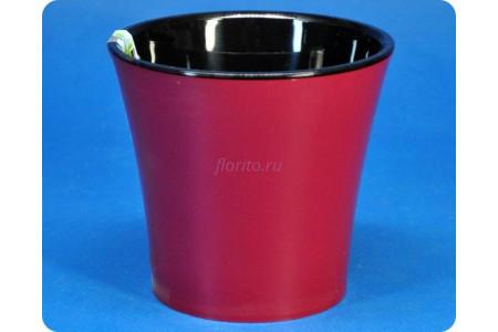 Кашпо пластиковое двойное без поддона «Арте красно-черный» 0,6л Э 246