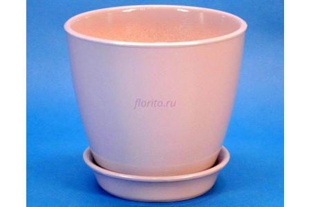 Горшок для цветов керамический с поддоном Виктория КП (10см) пудровый