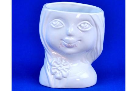 Кашпо керамическое Девочка (0401) бел. ГЛ0401