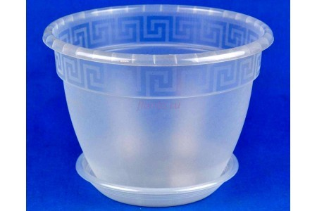 Горшок для цветов пластиковый с поддоном Антик с под.22 (прозр)