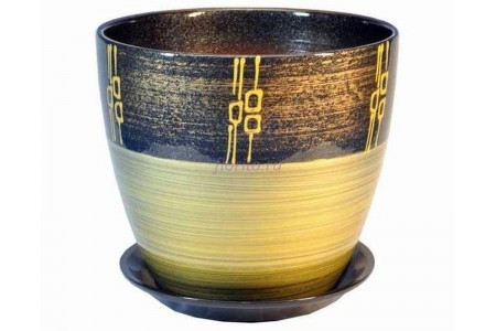 Горшок для цветов керамический с поддоном Роспись бутон ритм бронза 12см (РС 24/1)