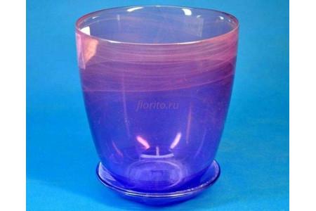 Горшок из стекла цветочный  «№4 алебастр  крашеный розово-фиолет.»