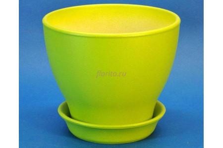 Горшок для цветов керамический с поддоном Ксения КП 1 (0,5л) грушевый