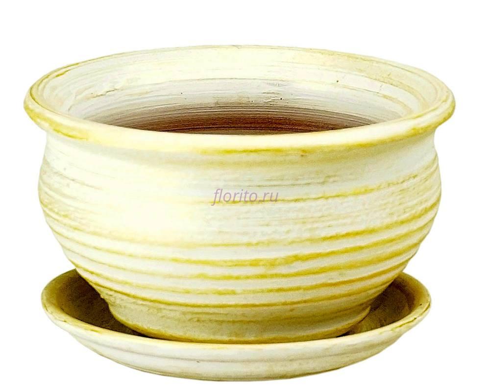 Горшок для цветов керамический с поддоном «Фиалочница №0 бел/зол» 2-06 32-006