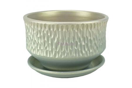 Горшок для цветов керамический с поддоном Павлин плошка светл.16см 2-33  38-133