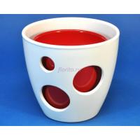 Кашпо керамическое двойное «ВК из 2-х КП (20-18см) белый-красный»