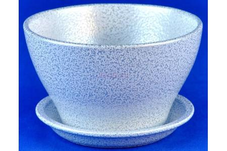 Горшок для цветов керамический с поддоном Беллита бел/сер.12см ГЛ908/1