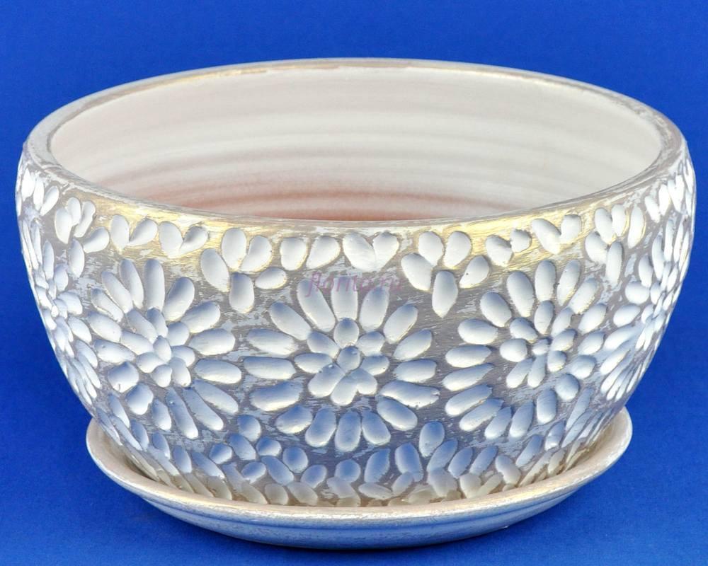 Горшок для цветов керамический с поддоном Астра плошка 2 бел/жемч. А5-223  4-23