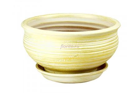 Горшок для цветов керамический с поддоном Кантри фиалочница бел/зол.22см 3-06 (32-206)
