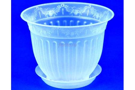 Кашпо пластиковое без поддона и отверстия Виноград с под.22 (прозр) 22-П