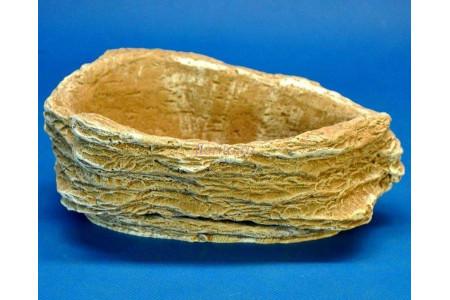 Горшок для цветов керамический с поддоном Камень Везувий темный песчаник 0,5л (км-02-2)