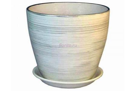 Горшок для цветов керамический с поддоном Роспись бутон бел/серебро 12см (РС 04/1)
