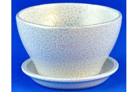 Горшок для цветов керамический с поддоном Беллита бел/зол.12см ГЛ907/1