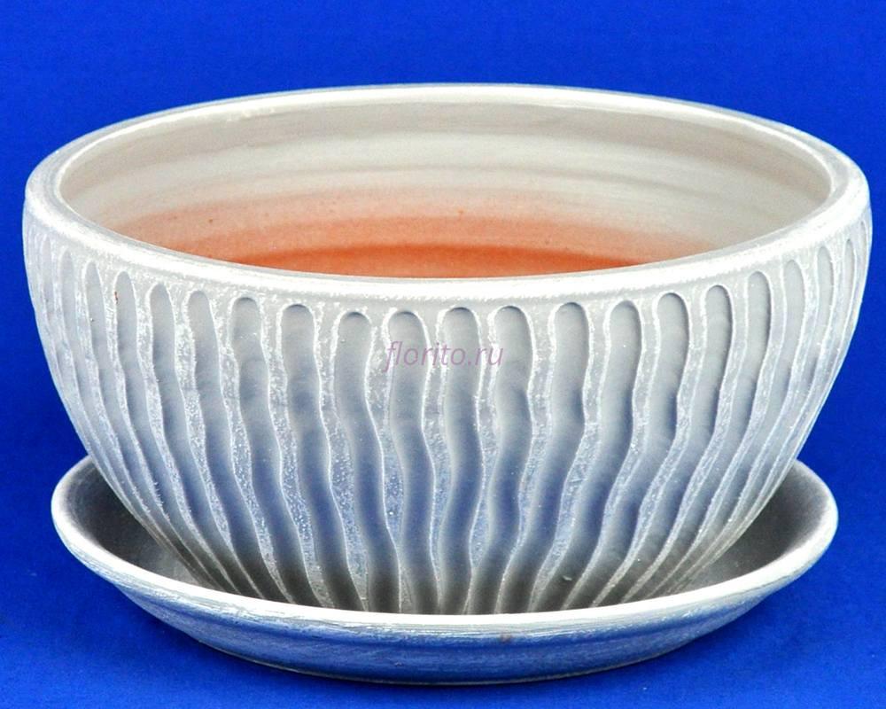 Горшок для цветов керамический с поддоном МАНЕ плошка 2 бел/сер М5-218   4-18