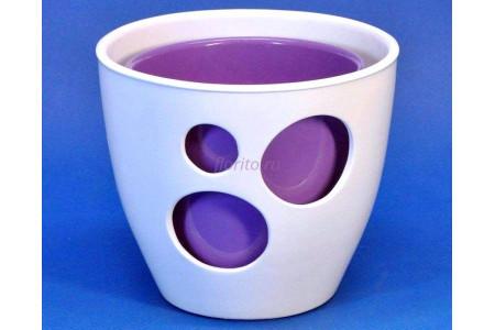Кашпо двойное керамическое «ВК из 2-х КП (20-18см) бело-сиреневое»