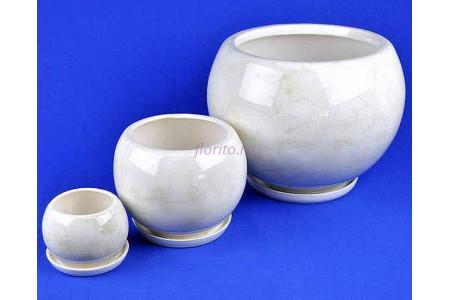 Горшки для цветов керамические с поддоном Шар комплект из 3-х (белый)