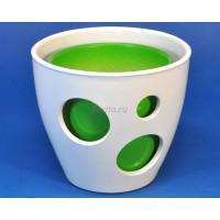 Кашпо керамическое двойное «ВК из 2-х КП (20-18см) белый-зеленый»