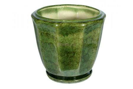 Горшок для цветов керамический с поддоном «Кашпо №4» зеленый 18л