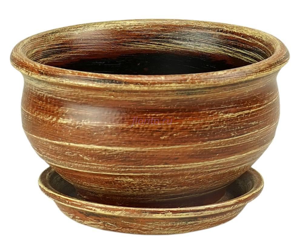 Горшок для цветов керамический с поддоном «Фиалочница №0 коричневый» 16см 2-09 32-009
