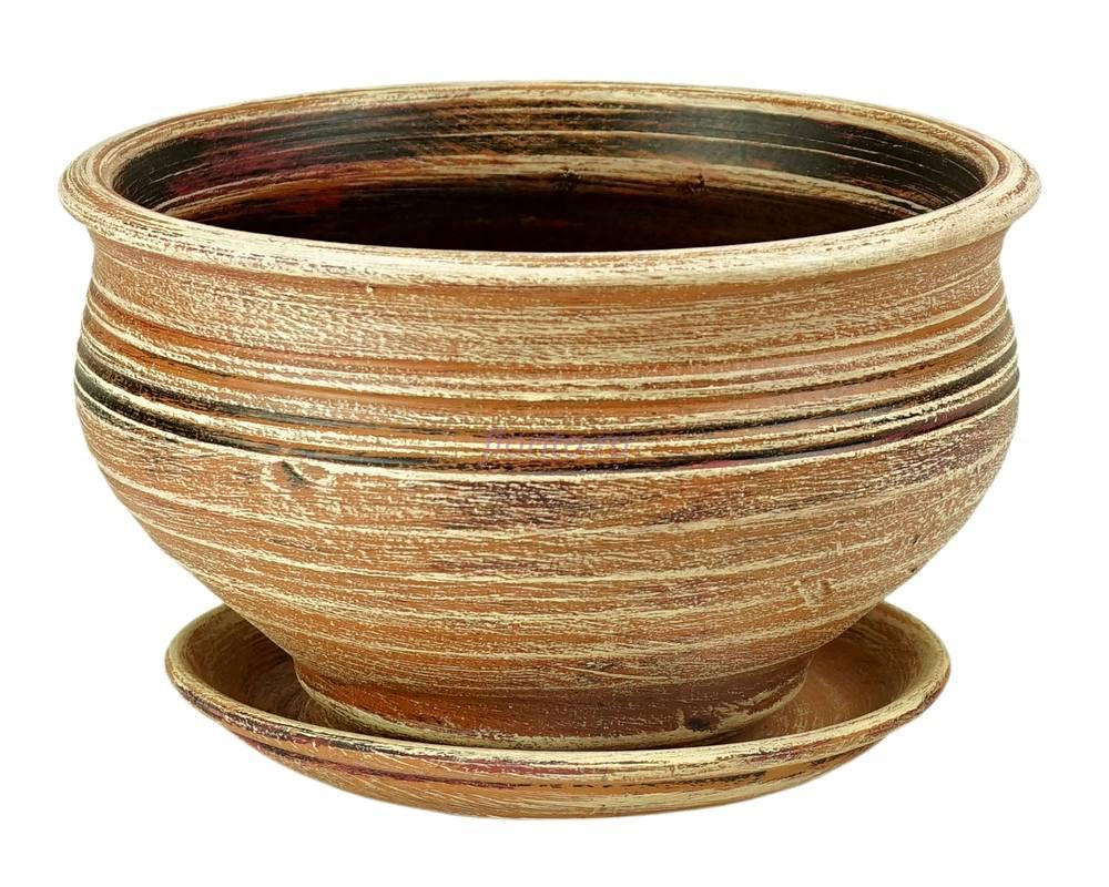 Горшок для цветов керамический с поддоном «Фиалочница №2 (бежевый)» 32-201 3-01